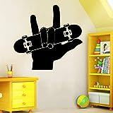 Finger Skate Wall Art Decal Stickers Muraux PVC Matériel DIY Murale pour Salon Canapé Toile de Fond Décoration Accessorise 58x54 cm