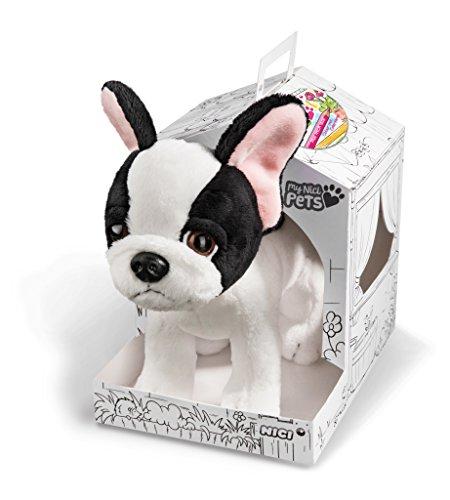 Nici 41561 Pets Kuscheltier Hund, 22 cm, Farbe: schwarz/weiß, Größe: ca