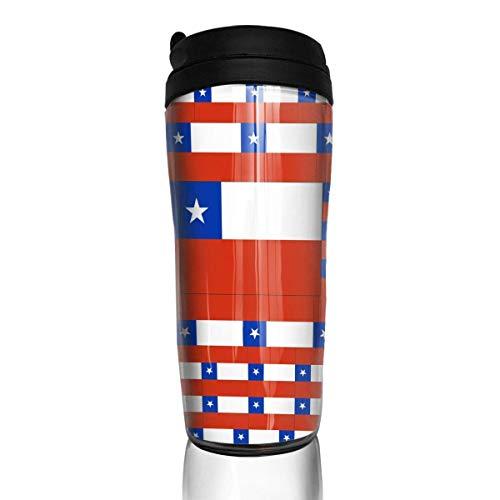 KERYNP Kaffeebecher Thermobecher mit Schraubdeckel,Travel Coffee Mug Chile Flag Water Bottle Environmental Protection Material ABS 12 Oz Spill Proof Flip Lid