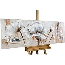 Dipinto in acrilico KunstLoft® 'Ricordo sbiadito' in 150x50cm | Tele originali manufatte XXL | Fiori bianchi motivo decorativo astratto | Quadro da parete dipinto in acrilico arte moderna in un pezzo