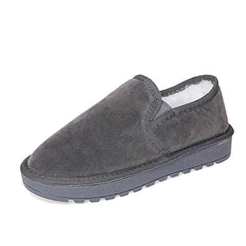 OverDose Femmes Chaussures Bottines Fourrure Plate Fourrure Doublé Hiver Chaud Chaussures Neige Chaussures Paresseuses (41, Gris)