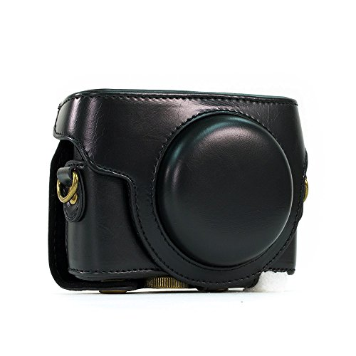 Kamera-Schutzhülle aus Kunstleder für Sony RX100,RX100II, RX100III M3,DSC-RX100III, RX100M3,mit Schultergurt