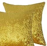 Par de fundas de cojín de terciopelo, grandes, color liso, dorado, 50,8 x 50,8 cm (20 x 20 pulgadas)