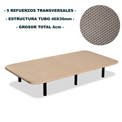 Base-tapizada-6-patas-cilndricas-metlicas-5-REFUERZOS-TRANSVERSALES-TUBO-40x30-MM-TEJIDO-3D-TRANSPIRABLE-135x200CM-6CM-GROSOR-Color-beige