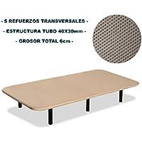 Bonitex - Base tapizada 3D 90x190cm + 6 patas, 5 refuerzos transversales, grosor 6cm, transpirable, color beige