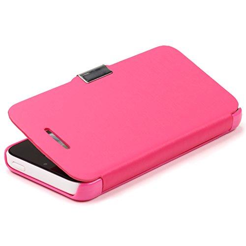 Étui iPhone 5c, Urcover Wallet Livre Case Housse Fuchsia Coque Apple iPhone 5c [Fermeture Magnétique] Téléphone Smartphone Fuchsia