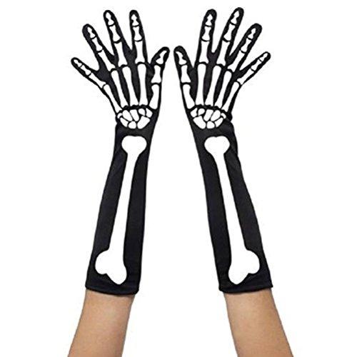Tinksky Skelett Handschuhe Halloween Unisex Kostüme lang Handschuhe schwarz Arm warm Schutz für Halloween Fasching Karnevall Horror Nights 60cm