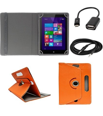 ECellStreet ™ 7 Inch PU Leather Rotating 360° Flip Case Cover With Tablet Stand For Digiflip Pro ET701Tablet - Orange + Free Aux Cable + Free OTG Cable  available at amazon for Rs.289