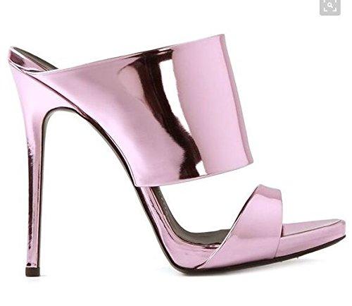 Moda sandali con tacco Alte Pure Color Roma alla moda con i tacchi alti sandali freddi Mop Pink