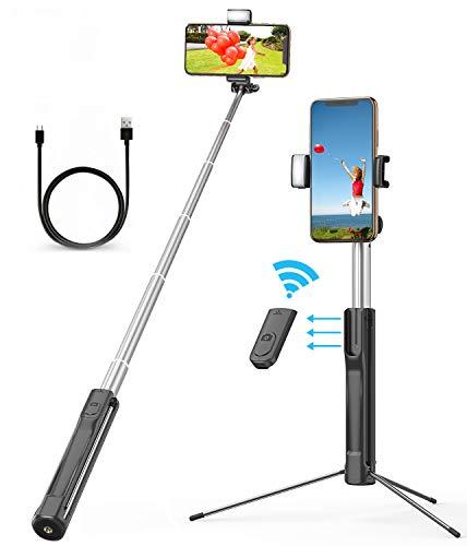 Matone bastone selfie treppiede, 114cm estensibile selfie stick bluetoothcon 3 livelli luce di riempimento e telecomando staccabile per smartphone ios android con larghezza fino a 8,2 cm