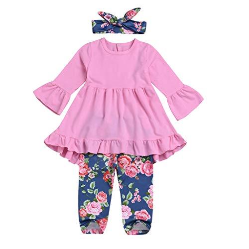Kobay Baby Mädchen Kleider Langärmliges Hornkleid + Hose mit Blumendruck + Stirnbänder Set Outfit(18-24M,Rosa)