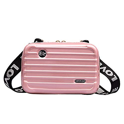 Tianfudedian Mini Hartkoffer Umhängetasche, Hartschale Mini Kofferform Umhängetasche, PU Leder Mini Kosmetik Make-up Tasche Kulturbeutel Reisekoffer mit Armband (Pink)