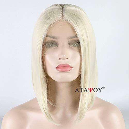 ATAYOU®Kurze Gerade Synthetische Bob Lace Front Perücken Hitzebeständige Perücke für Frauen + 1 Perücken Kappe (Licht ()