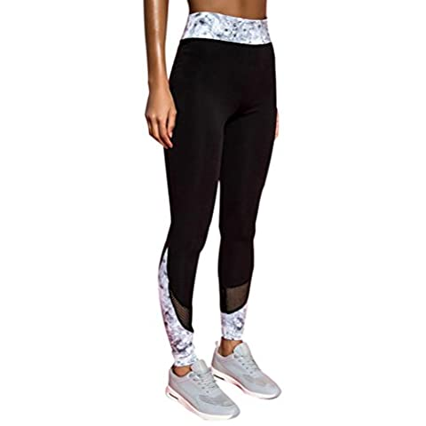 Pantalon de Yoga,Manadlian Femmes mode Workout jambières Fitness Sports gym jogging pantalon de yoga (Noir, XL)