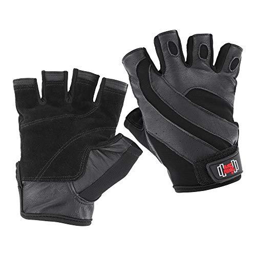 amzKing Premium Echtleder Fitness-Handschuhe/Trainingshandschuhe Leder für Kraftsport/Fitness/Bodybuilding und Hanteltraining, Sporthandschuhe für Crossfit/Gewichtheben (L)