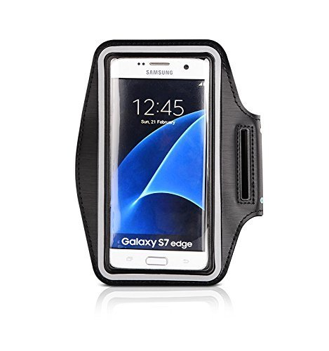 CoverKingz Armtasche für Samsung Galaxy S7 Edge Sportarmband mit Schlüsselfach, Laufarmband, Sport Handyhülle, Handy Armband Schwarz