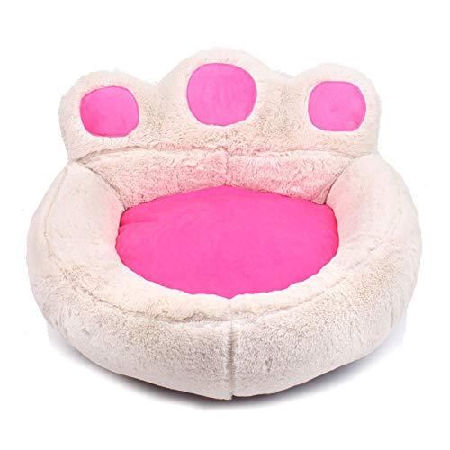 Bärentatze-Haustier-Bett-Sofa for Hundekatze-Welpen-Kätzchen-weiche warme Hundehütte-Nest-Haustier-Schlaf-Matte Bärentatze (Color : White, Size : S) Matte White Modell