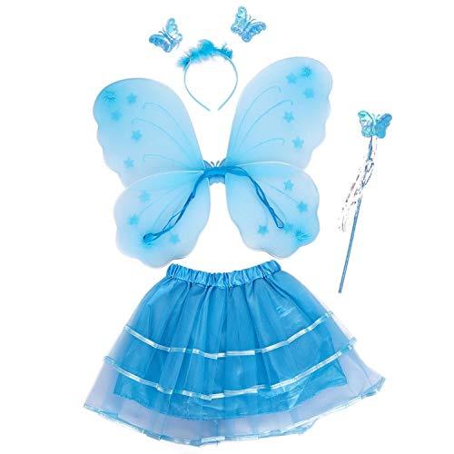 Ogquaton 4 teilesatz fee Prinzessin Glitter Butterfly Party kostüm flügel zauberstab Stirnband Tutu Rock 3-10y blau langlebig und - Butterfly Prinzessin Kostüm Kleinkind