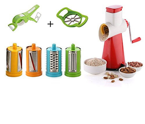 STAR WORK Stainless Steel 4 In 1 Drum Grater, Shredder, Slicer With Cutter And Peeler For Vegetable, Fruits, Chocolate(Multicolour)