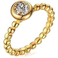 Vnox Acciaio inossidabile Cubic Zirconia lunetta della ragazza delle donne Impostazione Solitaire Anniversario Anello in oro - Lunetta Diamante Solitario Anello