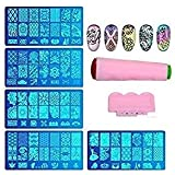Trendy Club Women's Jumbo Nail Stamping Image Plates Kit 1 Pieces, Double Sided Stamper, Metal Scraper Nail Art and Decoration Combo (Multicolour)