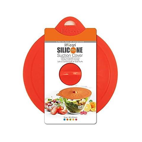 Cubierta de la succión del silicón para los tazones de fuente de las tazas [Tamaño: ¢ 180mm],Liflicon[Cocina-Experto] Tapas selladas herméticas, certificación FDA y LFGB, silicona de grado alimentario, caja fuerte de microondas. Color[Rojo]