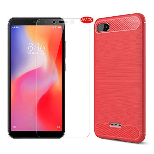 Xiaomi Redmi 6A Hülle Mit Schutzfolie,MYLBOO[3 in 1] Soft Flex TPU Silikon Handyhülle+[2 Stück] 9H Panzerglas Hartglas Glas Display Schutzfolie Für Xiaomi Redmi 6A(Rot)