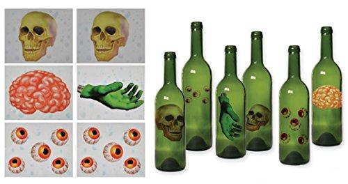Dildoridoo - Halloween Dekoration Flaschen Sticker Schädel- Gehirn- Augäpfel- Zombie Hand Party, 6 Stück, 14x11cm, Mehrfarbig (Halloween Dekoration Augäpfel)
