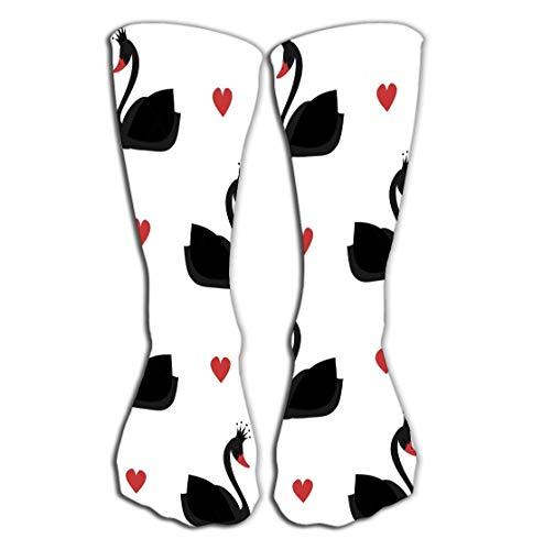 Xunulyn Hohe Socken Outdoor Sports Men Women High Socks Stocking Cute Lovely Princess Black swan White Background Seamless Pattern Tile Length 19.7