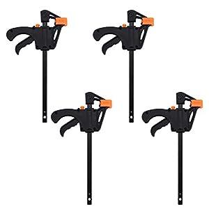 Juego de abrazaderas en forma de F, abrazaderas de agarre rápido, abrazaderas de barra de trinquete, ideal para aplicaciones de sujeción rápida y fácil (4 pulgadas, 4 unidades)