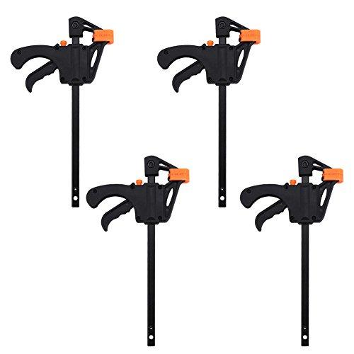 F-Clamp Set, Quick Grip Klemmen, Ratsche Bar Klemmen, Einhand-Stange Klemme, ideal für schnelle und einfache Klemm-Anwendungen (4 Zoll), 4 Stück