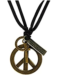 Rich And Famous Hollow Peace Symbol Adjustable Leather Pendant For Men And Boys (Multi-Colour)
