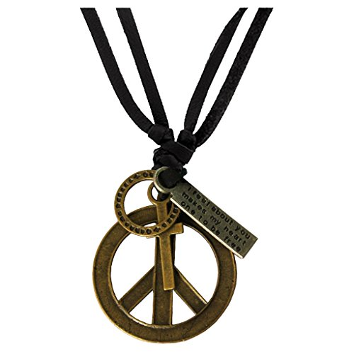 Rich & Famous Hollow Peace Symbol Design Adjustable Leather Pendant For Women...