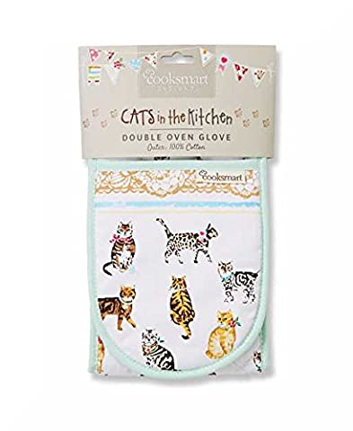 Insulated 100% Cotton Double Oven Gloves by Cooksmart (Cats on Parade)
