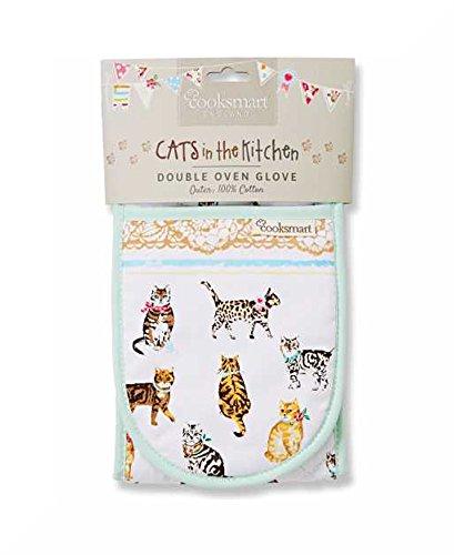 Isolierte, doppelte Ofenhandschuhe aus 100 % Baumwolle, von Cooksmart Cats on Parade (Lace Top Ruffled)