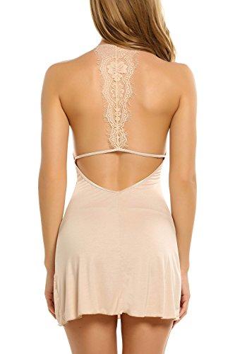 ZEARO Femme Lingerie Slim Fit en Coton Robe de Nuit Sexy Nuisettes Fine à Pyjamas Bretelle avec un G- String Abricot