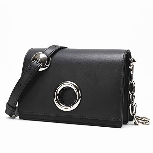 BSTLY Rucksack Tasche Weiblich Diagonal Tasche Weiblich Mode Lederhandtaschen Handgefertigte Lederkette Tasche Schwarz