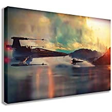 "STAR WARS X WING FIGHTERS OVER WATER CANVAS WALL ART (30"" X 18"" / 75 X 45cm)"
