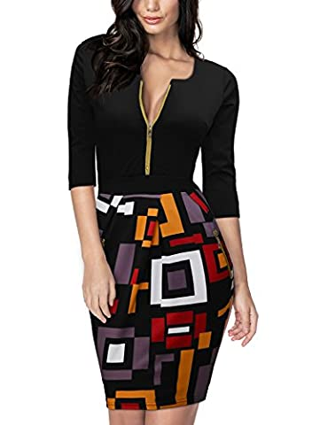 Miusol Women's Front Zipper Color Block Cocktail Dress Medium