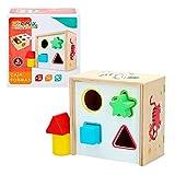 WOOMAX- Cubo actividades de madera 6 piezas (Color Baby 42754)