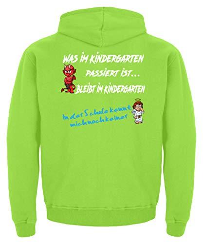 Einschulungs Shirt für Jungen & Mädchen, Engel Teufel | Einschulung |Kindergartenabschluss - Kinder Hoodie -9/11 (134/146)-Limetten Grün