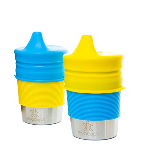 EvoCups Hochwertiges Schnabelbecher Set Aus Edelstahl 2er Pack (300 ml), Trinklernbecher Für Kinder Aus BPA-FREIEM Silikon, Inklusive Schnabeldeckel Und Silikonhülle