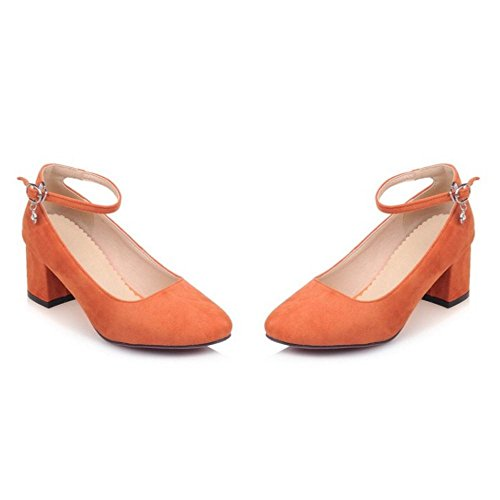 TAOFFEN Femme Mode Bride Boucles Bloc Talon Moyen Escarpins bas Orange