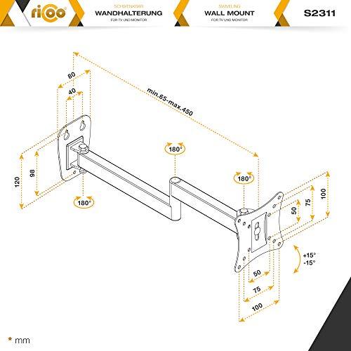 Monitor Wand-Halterung Monitor-Halterung Schwenkbar Neigbar S2311 |RICOO| Schwenkarm TFT Wandhalterung LCD LED Wandhalter fuer Flach-Bildschirm PC-Monitor 43-49-54-61-68cm / 17′ 19′ 22′ 24′ 27′ Zoll | VESA 75×75 100×100 universell passend fuer viele TV und Monitor Hersteller |Wandabstand nur 65 mm| - 7
