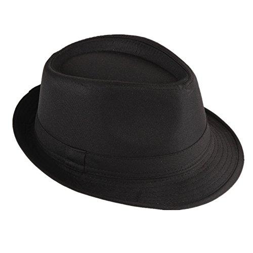 Kostüm Kinder Herr Herren - Strohhut Panama Fedora Trilby Gangster Hut Sonnenhut mit Stoffband Farbe:-Schwarz Gr:-58
