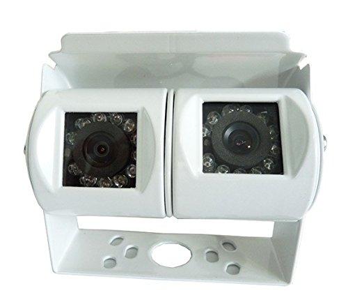 YMPA Rückfahrkamera CCD Doppel Dual Doppelkamera Twin Kamera Dualcamera für Weit und Nahsicht Weitwinkel mit 10 Meter Video Kabel für Auto KFZ Transporter Wohnmobil weiß PKW RFK-DO