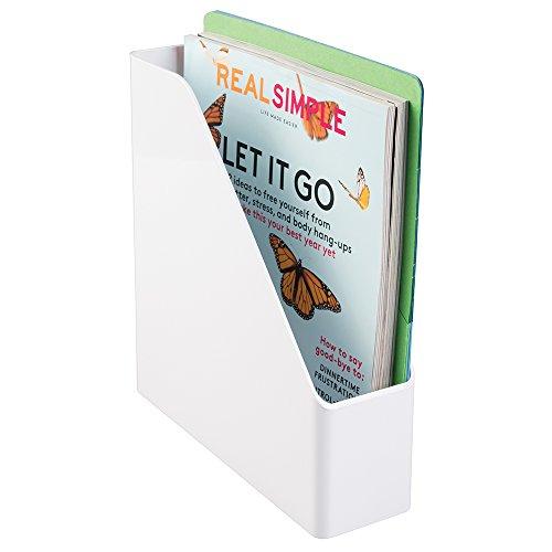 mDesign - Organizador de suministros de oficina / Organizador de escritorio; organiza carpetas de archivo, biblioratos, revistas, libros - Blanco width=