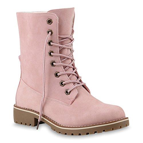Warm Gefütterte Damen Stiefeletten Worker Boots Kunstfell Schuhe 145330 Rosa Glatt 36 Flandell