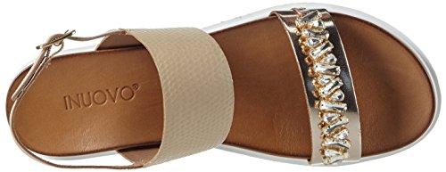 Inuovo - 6204, Scarpe col tacco con cinturino a T Donna Oro (Gold (GOLD-BEIGE))