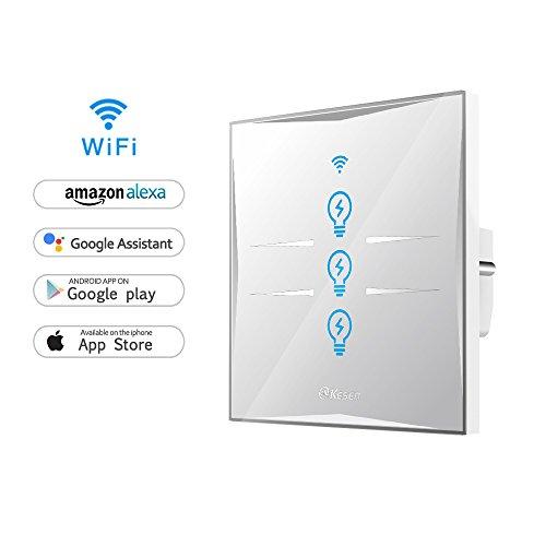Wifi Smart Lichtschalter, WLAN In-Wall gehärtetes Glas Touchscreen-Schalter, arbeitet mit Amazon Alexa...